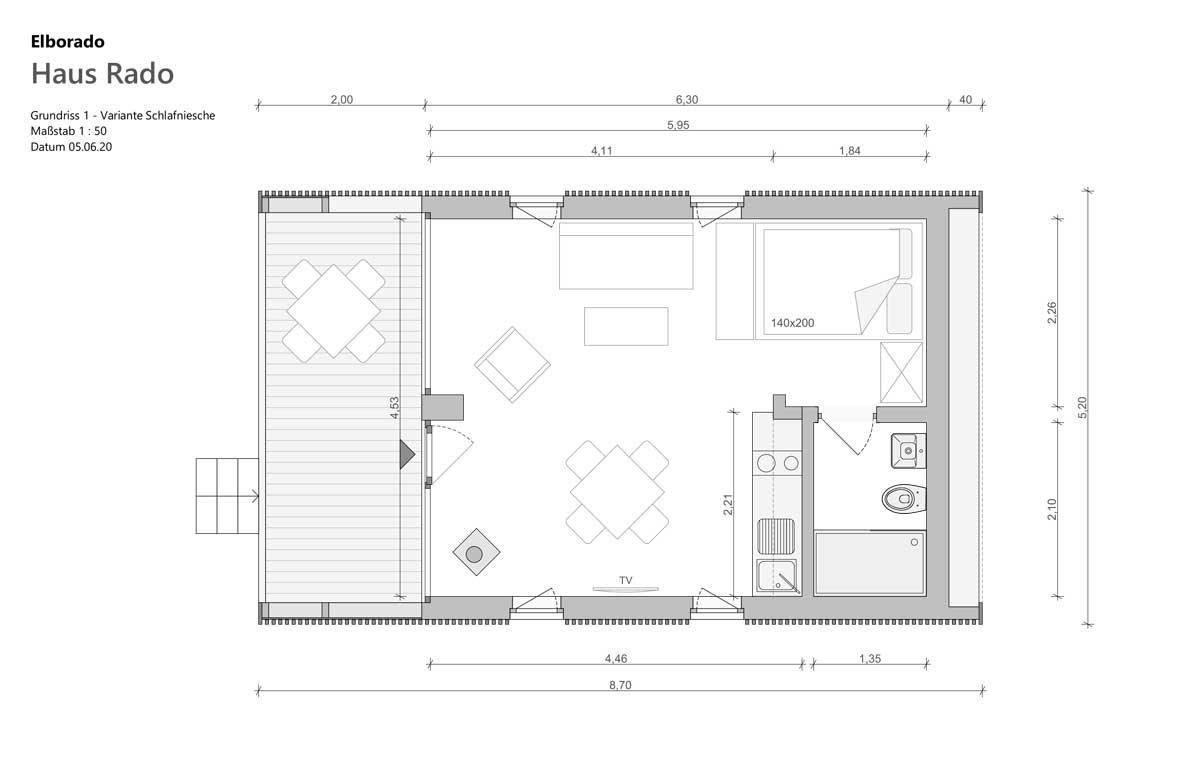 "Elborado Tiny House ""Rado"" Grundriss 1 Schlafnische"